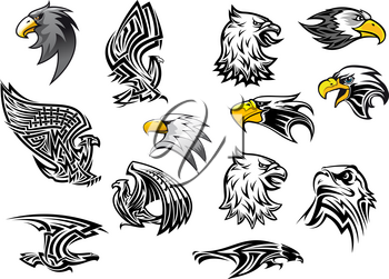 Eagle or hawk vector icons for mascot or tattoo. Isolated heraldic symbols set of outline griffin eagle or falcon head with open beak for sport team badge, army or military shield