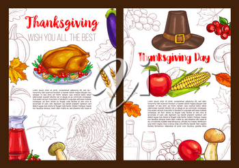 Thanksgiving Day sketch posters or greeting cards for seasonal autumn holiday celebration. Vector design of pumpkin vegetable and corn fruit harvest, traditional pie and wine for Thanksgiving dinner