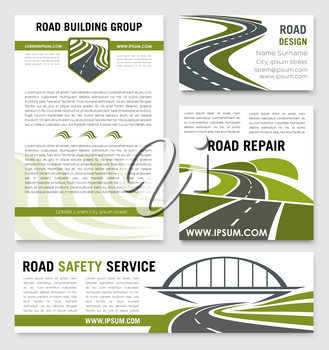 Road safety construction company posters and banners templates set. Vector design for highway and tunnel and bridge building and repair technology for motorway or transportation service