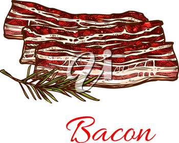 Bacon meat icon for butchery shop of fresh farm product. Vector raw meat pork brisket, beefsteak lump or tenderloin filet and sirloin steak with mutton lard layers and green seasoning