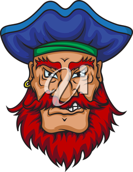 Old pirate captain in cartoon mascot style isolated on white background