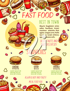 Fast food burger and sandwich menu banner template. Hamburger, hot dog, pizza, cheeseburger, donut, fries, soda and coffee drink, burrito and milkshake sketch poster for fastfood restaurant design