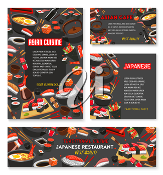 Japanese restaurant menu banner of asian cuisine template. Seafood sushi with rice, salmon fish and seaweed, tuna sashimi with chopsticks and sauce, soup ramen and green tea poster for food design