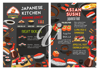 Sushi bar or Japanese Asian cuisine food bar menu design template. Vector sashimi and sushi rolls of salmon fish, bento tempura shrimp in rice and soy sauce or noodles soup and chopsticks