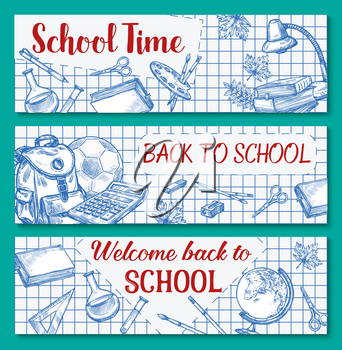 Back to School banners of ink pen sketch chalkboard and stationery supplies. Vector set of autumn maple leaf, chemistry lesson book or school bag and calculator, pencil or ruler and geometry globe