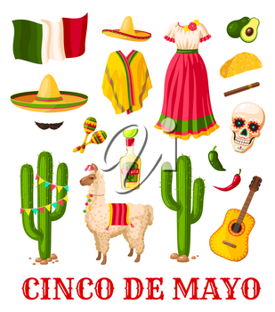 Cinco de Mayo mexican holiday celebration icon set. National flag of Mexico, sombrero hat and chilli pepper, maracas, tequila and guitar, cactus, carnival dress and pinata for fiesta party design