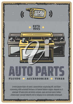 Car spare parts retro poster for automobile shop or service center. Vector vintage design of car alarm remote and accumulator battery for car diagnostics, spare parts and repair garage station