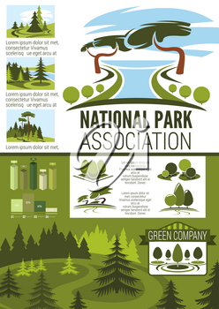 City park and garden landscape design infographic template. Ecology nature statistic chart and forest planning graph with green tree and plant for landscaping, gardening and horticulture infochart