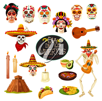 Dia de los Muertos Mexican traditional holiday symbols. Vector cartoon skull with Mexico ornaments, skeleton dancing with banjo guitar and candles for Day of Dead greeting card design