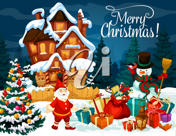 Merry Christmas greeting card with Santa New Year gifts, snowman and dwarf at gingerbread house on snow. Vector Xmas tree winter holidays design with candy canes and decoration ornaments