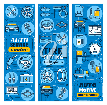 Car service and auto mechanic repair center banners. Vector design for tire fitting or automotive maintenance of vehicle muffler, tow truck and lug wrench for garage diagnostic station