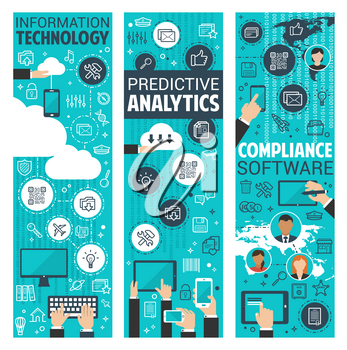 Business strategy and analysis flat banner set with information technology and analytics thin line icon. Laptop computer, mobile phone and tablet digital device poster with chart and graph
