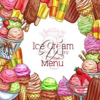 Ice cream menu sketch design for gelateria or ice cream cafe. Vector template of chocolate sundae eskimo or fruit and berry sorbet with caramel glaze and strawberry jam topping