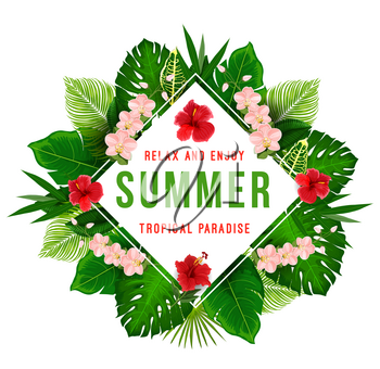 Summer tropical paradise poster for exotic beach vacation and summertime holiday template. Jungle palm and monstera leaf, hawaiian hibiscus, banana tree and orchid flower for greeting card design