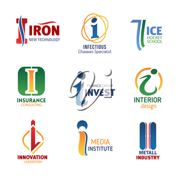 Letter I icons for business, technology and investment company or banking industry. Vector innovation symbols of letter I for for fitness center or gym sport club and media agency