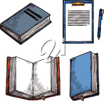 Old vintage books and notepad sketch icons for rarity bookshop or book store. Vector design of ancient rare books open or closed and modern notebook with writer ink pen