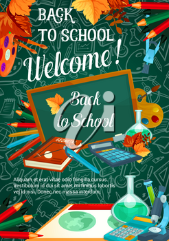 Back to School sale promo web banner for September autumn seasonal school store discount offer on green chalkboard. Vector school bag, books or paint brush and maple leaf, chemistry copybook or ruler