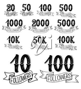 social net followers numbers in lettering. Vector calligraphic text of form ten to thousand social account followers in doodle sketch with ribbons and flourish retro calligraphy