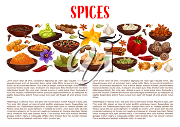 Spices banner with aroma food condiments and spicy seasoning border. Pepper, chili and ginger, cinnamon, vanilla and star anise, nutmeg, cardamom and bay leaf, garlic, saffron, turmeric and wasabi