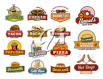 Fast food icons of fastfood snacks and sandwiches. Cafe, restaurant or bistro menu. Vector Chinese noodle box, Caesar salad or kebab barbecue and donut dessert, Mexican taco and nachos with burrito