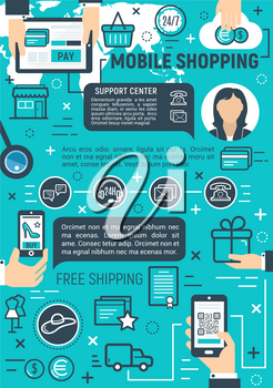 Online mobile shopping poster for buy and pay smartphone technology. Vector mobile phone application for credit card payment or web shop and store products delivery and secure money transaction