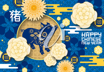 Chinese New Year pig holiday poster. Chinese zodiac with origami flowers and hieroglyphs and coins for luck. Lunar New Year, Spring Festival theme abstract design with domestic livestock animal vector