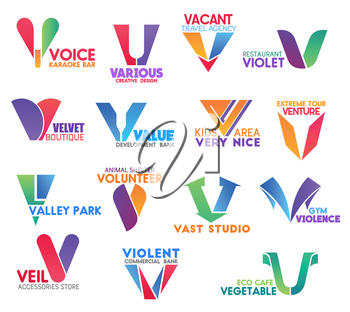 Corporate identity letter V business icons. Entertainment and design, travel, food and fashion, banking, extreme and environment, charity, sport and shopping, ecology. Vector emblems, signs or symbols