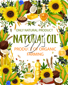 Natural oil and cooking condiments, vegetables and nuts. Vector sunflower and olive, coconut and hemp, corn and wheat. Butter and margarine, peanut and pistachio extra virgin oil in bottle and jug