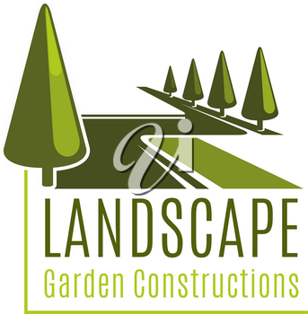 Landscape sign for gardening business. Vector symbol of landscape garden constructions. Vector sign for landscape design company. Creative design for horticulture business. Emblem with green trees