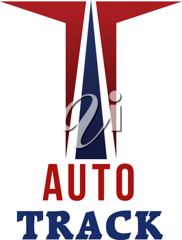 Auto track vector sign concept. Race and formula concept. Road for automobile sport vector emblem. Red and blue colors badge isolated on white background. Auto championship concept
