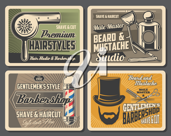 Barbershop, shave and cut service, hairstyle and haircuts, gentlemens style. Vector hair dryer, man beard and mustaches. Beauty salons, tall hat and scissors, razor and perfumes, combs