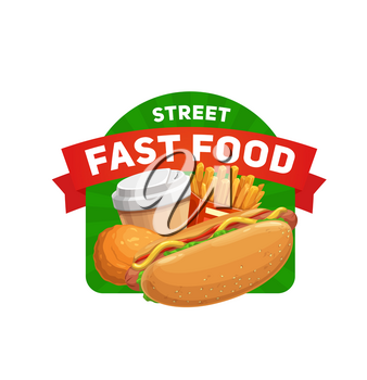 Street fast food icon. Cartoon vector hot dog with sausage, salad and mustard, french fries, chicken leg drumstick, paper cup with coffee or soda. Fast food cafe or street restaurant meals emblem