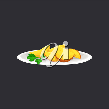 Baked potato wedges with green parsley green on ceramic plate isolated. Vector country style potato with greens in white bowl, fried potato in rural style. Served roasted vegetable wedges with spices