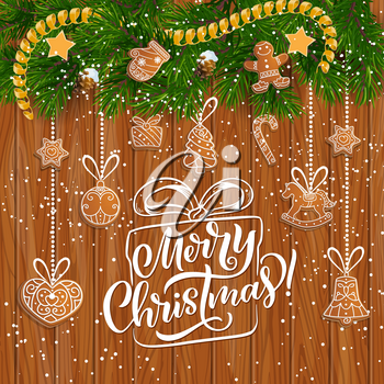 Christmas gingerbread festive garland on wooden background with wishes of Merry Xmas vector greeting card. New Year ginger cookie hanging on pine tree branch with ribbon bow, star, snow and pinecone