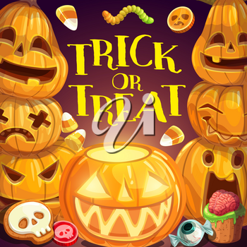 Halloween trick or treat party, horror night celebration poster. Vector monster pumpkin lantern and Halloween holiday sweet candies of evil eye, skeleton skull, spooky brain and scary worms