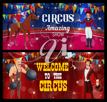 Shapito circus stage, acrobat, magician and strongman, funfair carnival show, vector. Circus funfair carnival or magic show performance of magician illusionist, strongman and horse rider acrobat