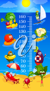Kids height chart cartoon vegetables on summer beach leisure, growth meter. Happy vector veggies characters broccoli, radish and eggplant with tomato sailing, tanning at sea shore, swimming in ocean