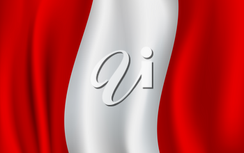 Peru flag, 3D realistic wavy banner. Vector Peruvian national flag of Latin America country, Independence Day symbol of red and white stripes triband background