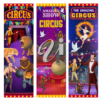 Circus entertainment show banners, wild animals tamer with lion in fire ring and elephant balancing on ball. Vector retro vintage big top circus muscleman, bear on bicycle and illusionist juggling
