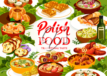 Polish cuisine restaurant poster. Carp with sauce, meatloaf ring with quail eggs and dumplings, Kalduny, Mazurka and cabbage rolls in tomato sauce, meat bread, sausages and Faramushka soup, Bigos