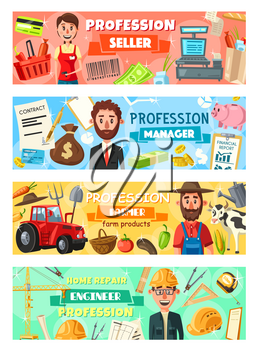 Professions, hiring of manager and farmer, seller and engineer. Vector businessman and construction builder, agriculture worker and shop assistant. Food and vegetables, financial report, repair tools