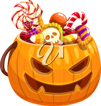 Halloween pumpkin basket full of candies and treats isolated. Vector jack-o-lantern bag with sweets
