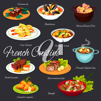 French cuisine food dishes, France traditional restaurant menu gourmet meals. Vector French bouillabaisse seafood and fish soup, Norman braised pork meat, rustic duck pate of fig and croquettes