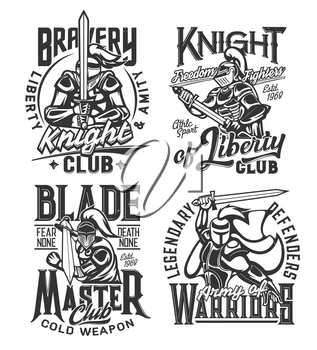 Tshirt prints with knight warriors with sword vector mascots for fighter or cold weapon club apparel design. Medieval knights in helmet with plumage, armor or cape. T shirt prints with typography set