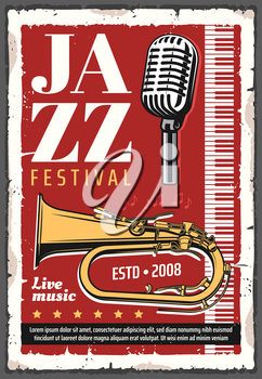 Jazz music festival concert poster with trumpet brass instrument and piano keyboard, musical notes and retro microphone. Live music show of jazz band invitation design