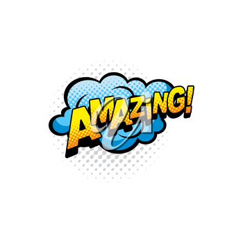 Amazing comics bubble isolated vector icon. Cartoon pop art retro sound cloud of blue color, blast explosion with halftone pattern and typography. Exclamation boom bang half tone sign
