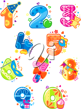 Cartoon digits and numbers with toys for childish mathematics design