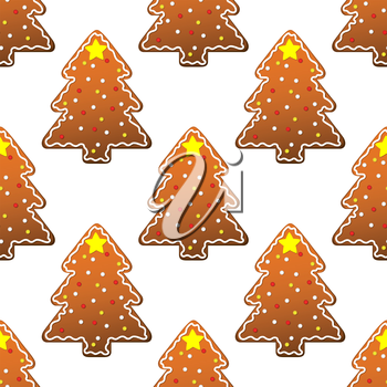 New year gingerbread tree seamless pattern for winter holidays design