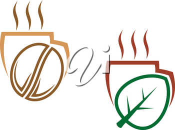Stylized vectior illustration of two cups of steaming beverages, one with a coffee bean and one with a greenleaf