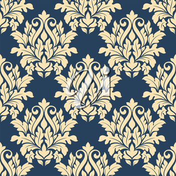 Damask style seamless pattern on blue with a large bold beige repeat floral motif in a busy design suitable for wallpaper and fabric